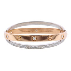 Cartier 18 Karat Pink and White Gold Diamond Paved Love Bracelet