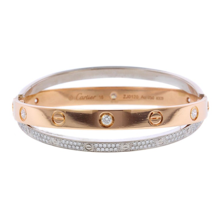 fc69e3b72a8f Cartier 18 Karat Pink and White Gold Diamond Paved Love Bracelet For Sale