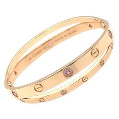 Cartier 18 Karat Pink Gold Diamond Sapphire Double Bracelet 17, Estate