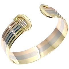 "Cartier 18 Karat Pink White and Yellow Gold ""C"" Cuff Bracelet"