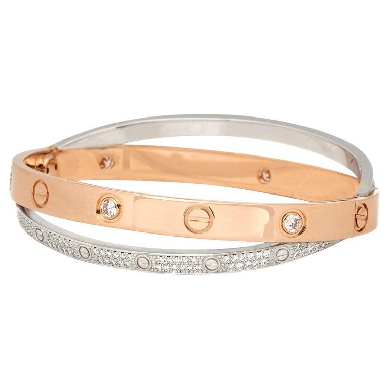 Cartier 18 Karat Rose and White Gold Pavé Diamond Love Bracelet For Sale