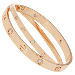 Cartier 18 Karat Rose Gold Diamond Set Love Bangle