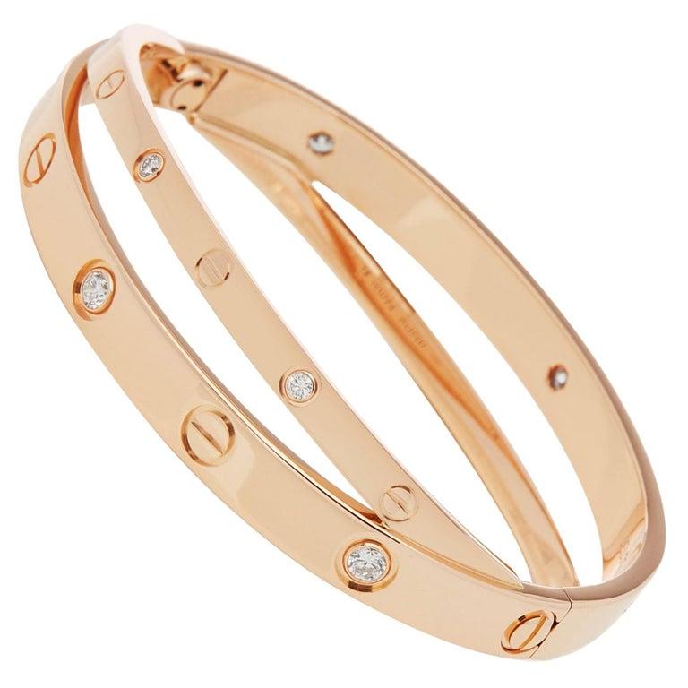 Cartier 18 Karat Rose Gold Diamond Set Love Bangle For Sale