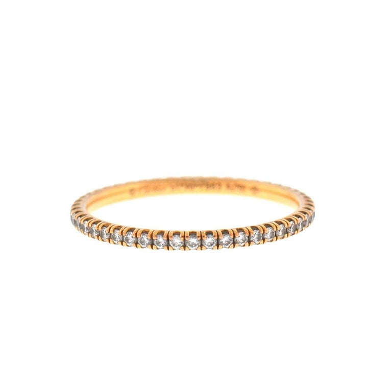 9049f4359f9c5 Cartier 18 Karat Rose Gold Etincelle Diamond Wedding Eternity Band Ring For  Sale
