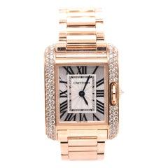 Cartier 18 Karat Rose Gold Factory Diamond Tank Anglaise