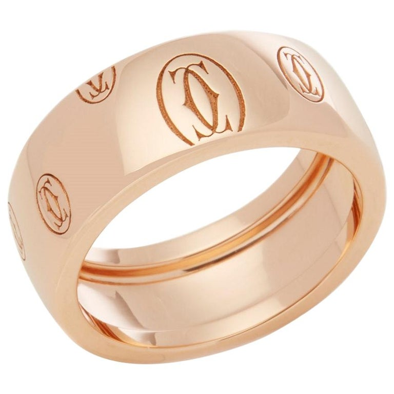 Cartier 18 Karat Rose Gold Happy Birthday Ring For Sale
