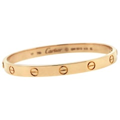 Cartier 18 Karat Rose Gold Love Bangle Bracelet Old Screw Style