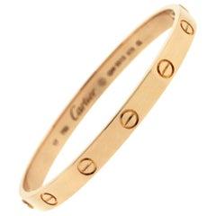 Cartier 18 Karat Rose Gold Love Bangle Bracelet Old Screw Style