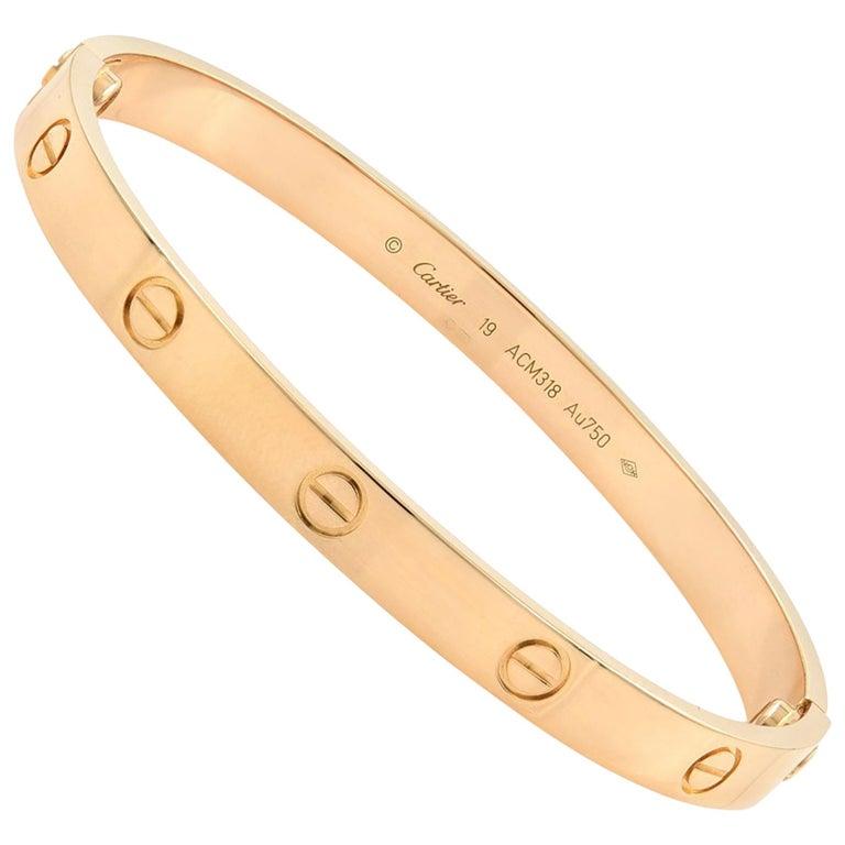 Cartier 18 Karat Rose Gold Love Bracelet For Sale