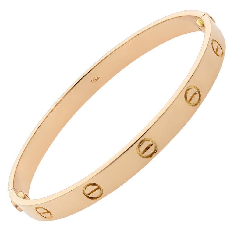 Cartier 18 Karat Rose Gold Love Bracelet Old Style For Sale