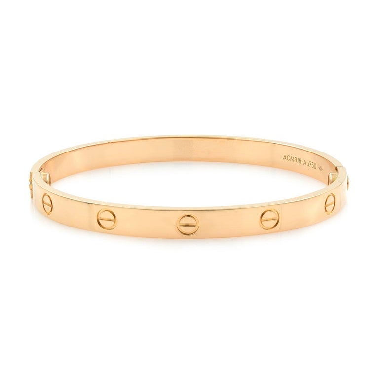 Cartier 18 Karat Rose Gold Love Bracelet In Excellent Condition For Sale In New York, NY