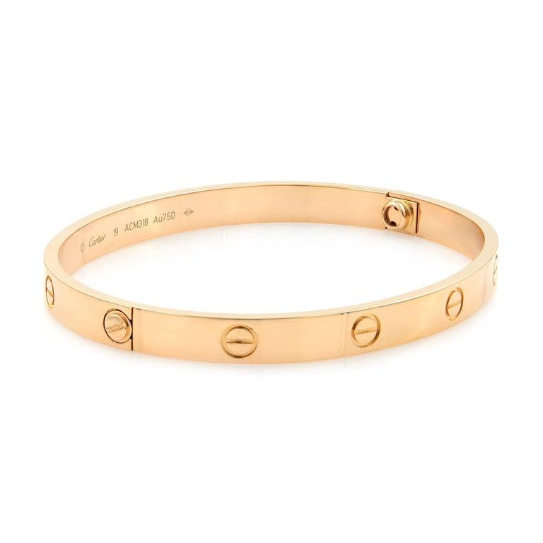 Women's or Men's Cartier 18 Karat Rose Gold Love Bracelet For Sale