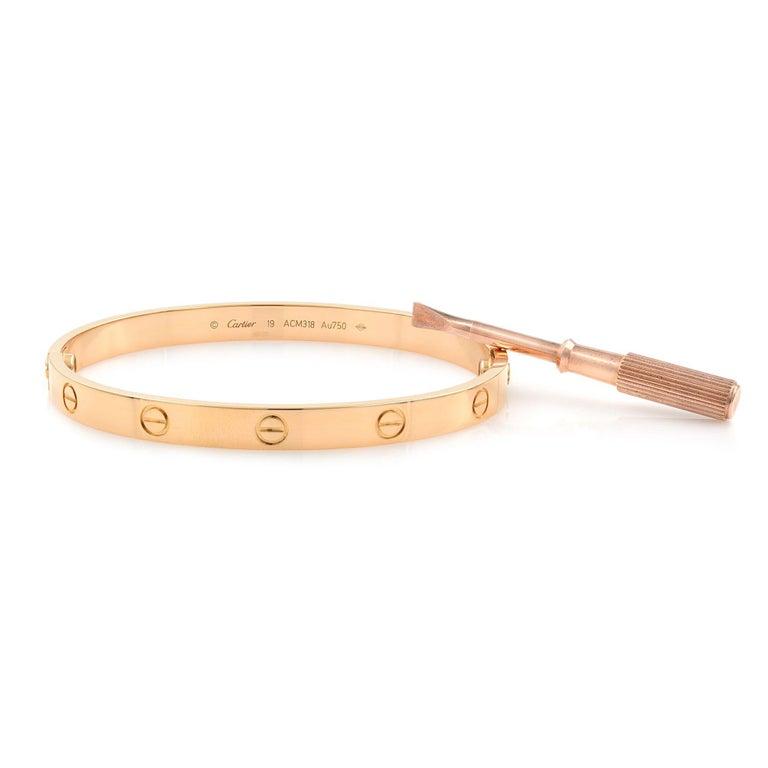 Cartier 18 Karat Rose Gold Love Bracelet For Sale 1