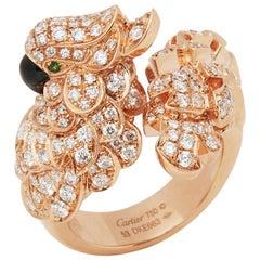 Cartier 18 Karat Rose Gold Mother Of Pearl & Diamond Les Oiseaux Libérés Ring