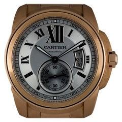 Cartier 18 Karat Rose Gold Silver Roman Dial Calibre De Cartier W7100018