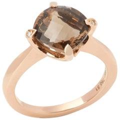 Cartier 18 Karat Rose Gold Smoky Quartz and Round Cut Diamond Lotus Ring