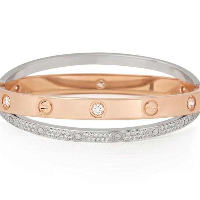 Modern Cartier 18 Karat Rose and White Gold Pavé Diamond Love Bracelet For Sale