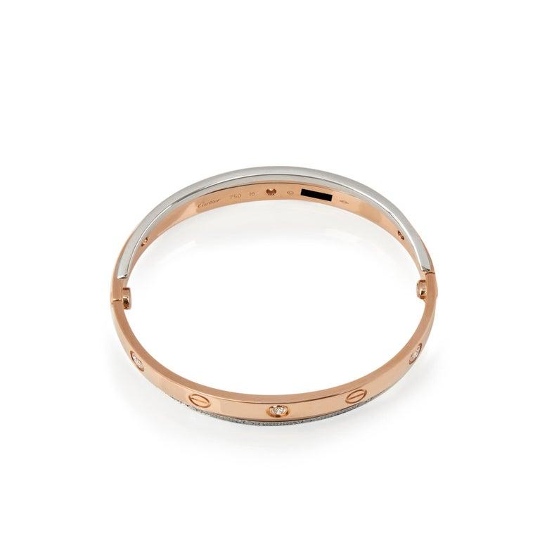 Round Cut Cartier 18 Karat Rose and White Gold Pavé Diamond Love Bracelet For Sale