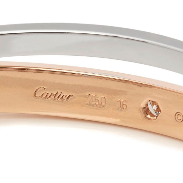 Cartier 18 Karat Rose and White Gold Pavé Diamond Love Bracelet For Sale 1