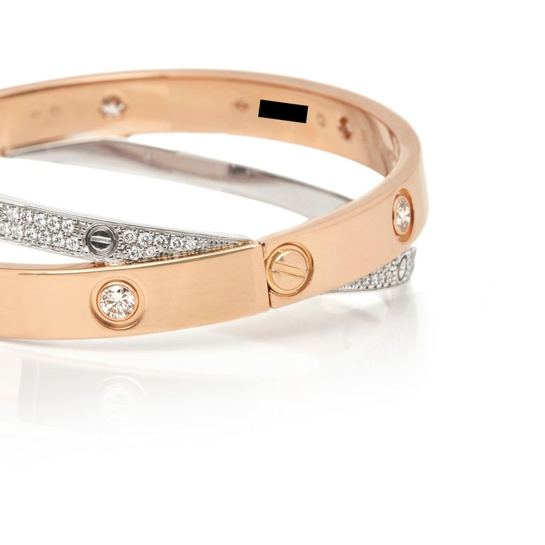 Cartier 18 Karat Rose and White Gold Pavé Diamond Love Bracelet For Sale 2