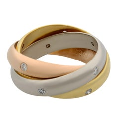 Cartier 18 Karat Rose Yellow White Gold Diamond Trinity Ring