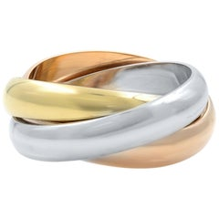 Cartier 18 Karat Three-Tone White Yellow and Pink Gold Classic Trinity Ring