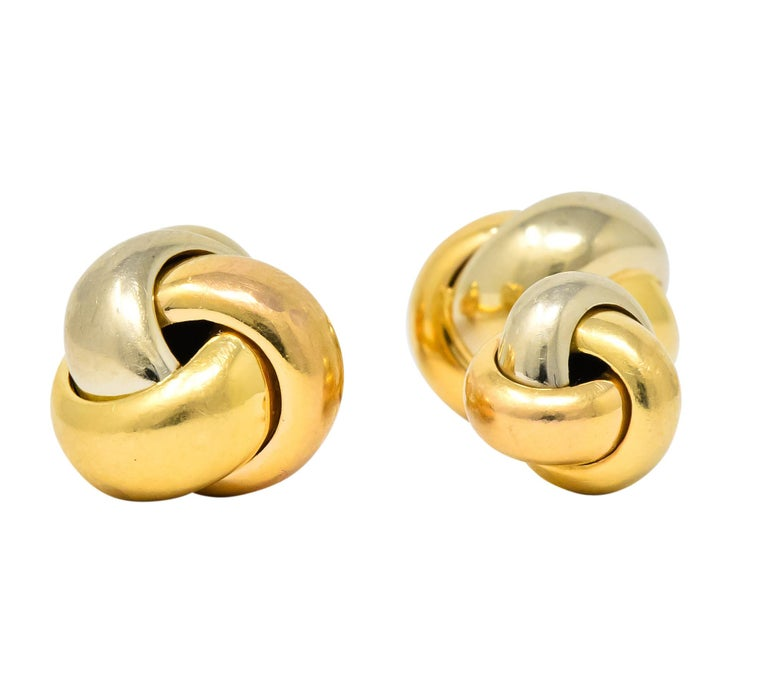 Modern Cartier 18 Karat Tri-Color Gold Trinity Cufflinks For Sale