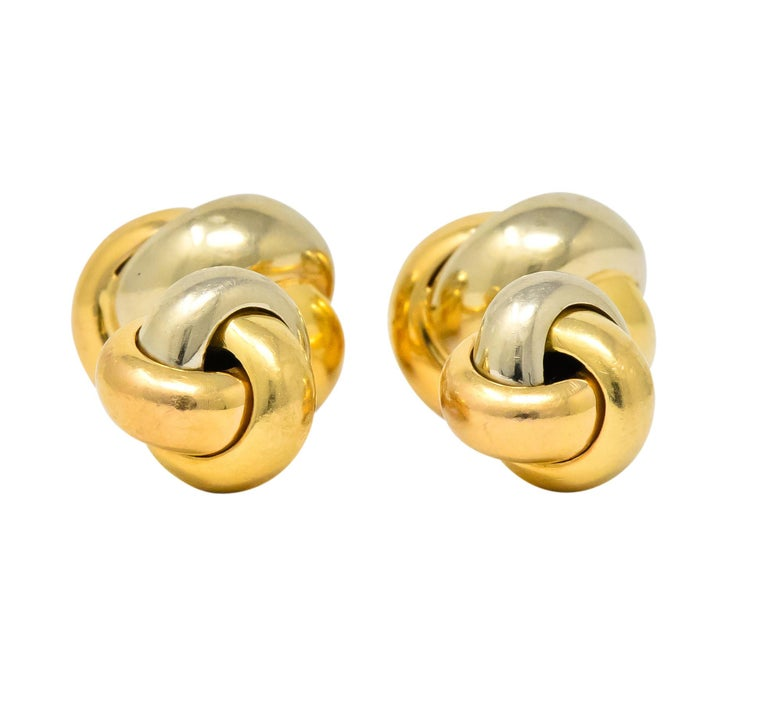 Cartier 18 Karat Tri-Color Gold Trinity Cufflinks In Excellent Condition For Sale In Philadelphia, PA