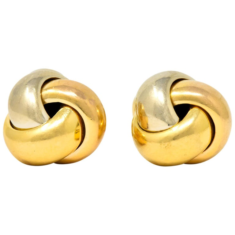 Cartier 18 Karat Tri-Color Gold Trinity Cufflinks For Sale