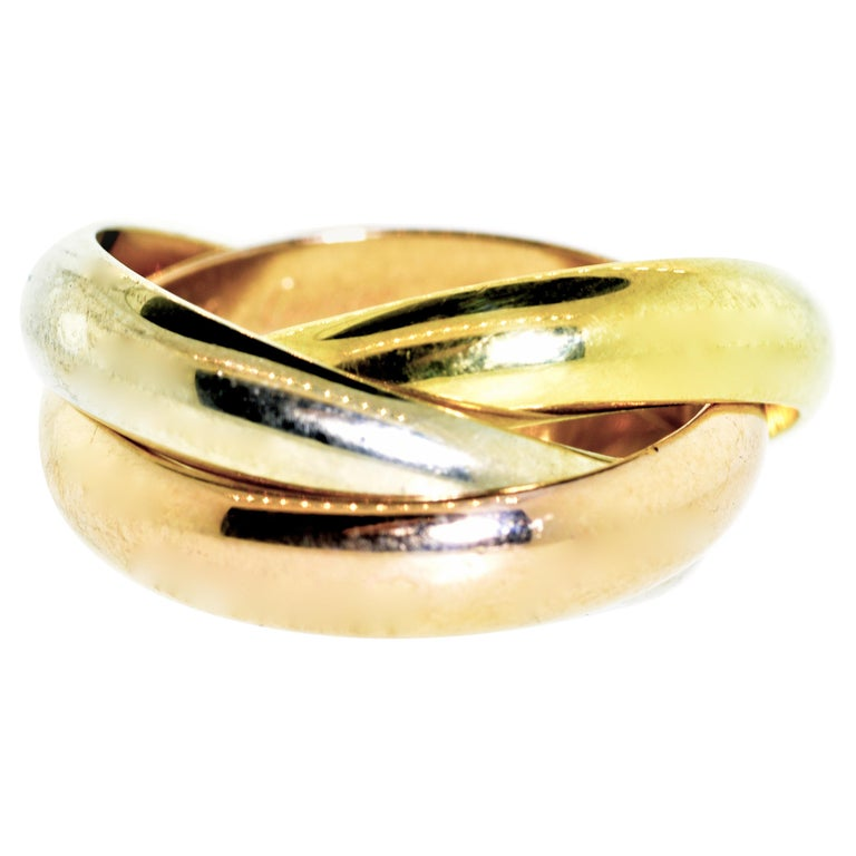 Cartier 18 Karat Tri-Color Trinity Band Ring For Sale