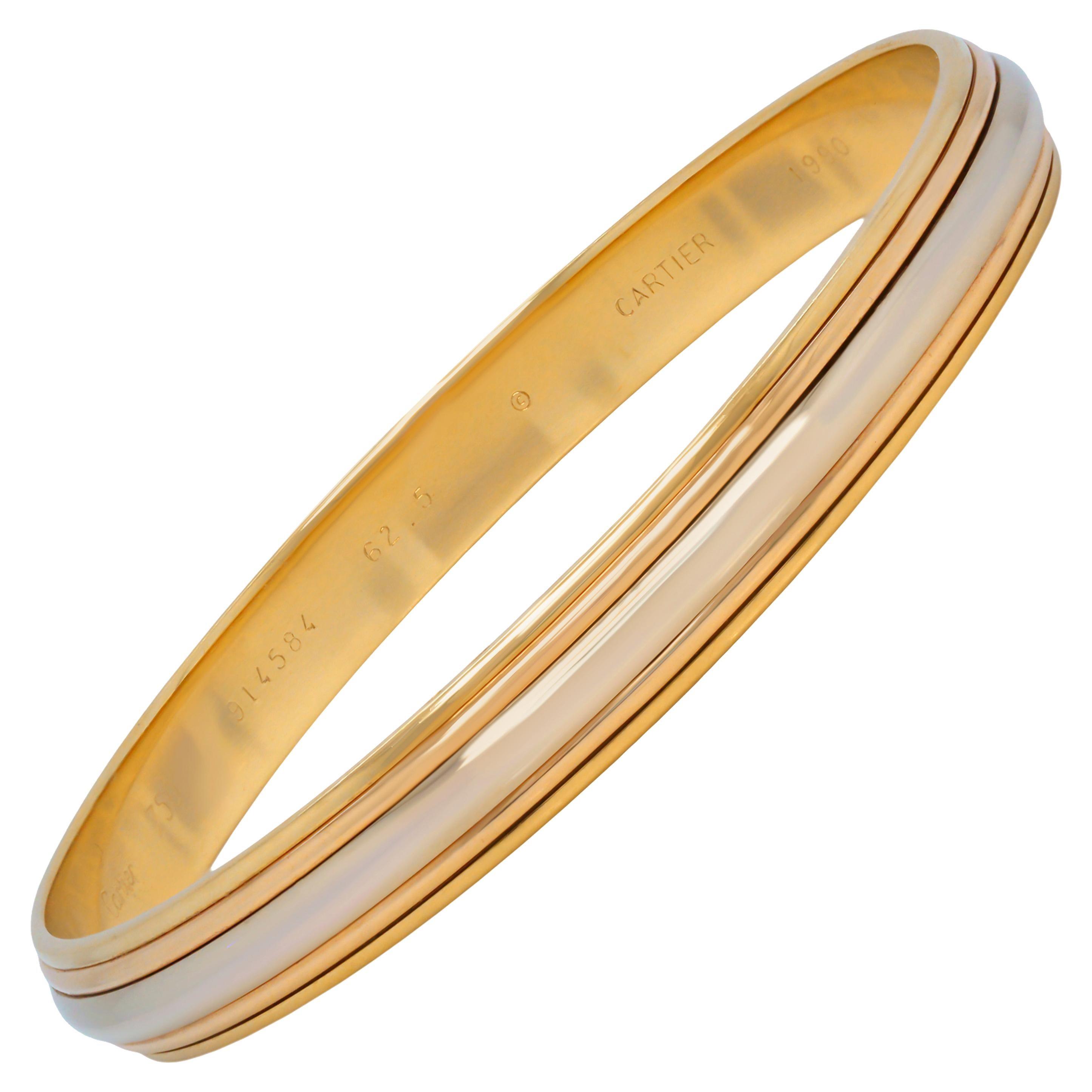 Cartier 18 Karat Tri Color Yellow White Rose Gold Thin Bangle Bracelet