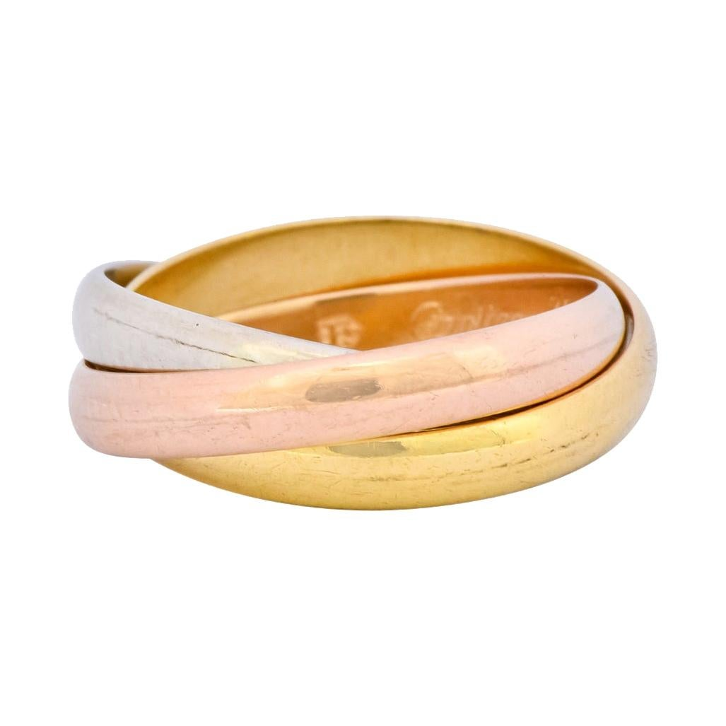 Cartier 18 Karat Tri-Colored Gold Unisex Trinity Rolling Pinky Ring
