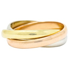 Cartier 18 Karat Tri-Colored Gold Unisex Trinity Rolling Ring
