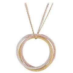 Cartier 18 Karat Tri Gold Trinity All Diamond Pendant Necklace on a Triple Chain