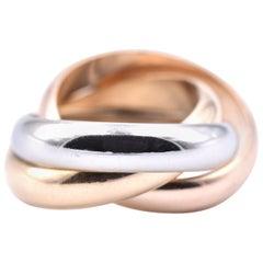 Cartier 18 Karat Tri-Tone Gold Rolling Ring