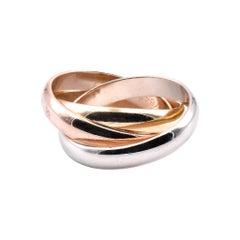 Cartier 18 Karat Tri Tone Gold Rolling Ring