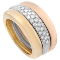 Cartier 18 Karat Tricolor Gold Stack 0.50 Carat Diamond Ring