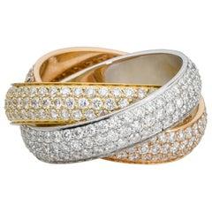 Cartier 18 Karat Trinity Large Model Diamond 4.64 Carat Ring
