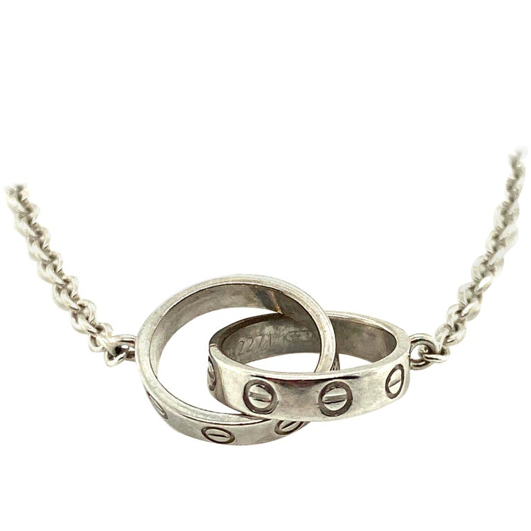 Cartier 18 Karat Two-Ring Love Necklace For Sale