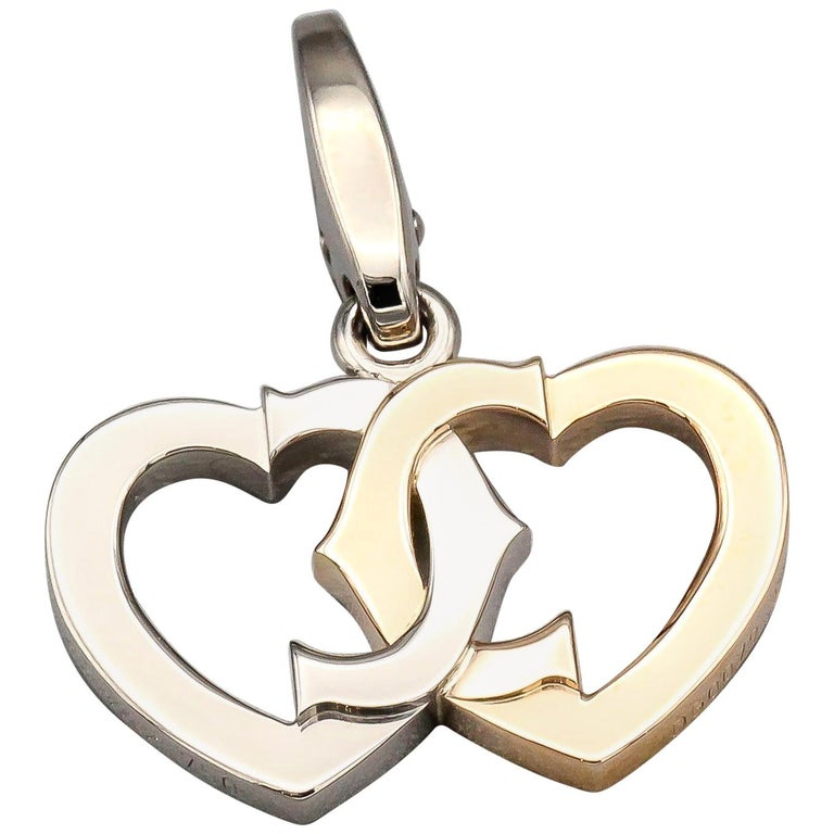 Cartier 18 Karat White and Yellow Gold Double Heart Logo Charm For Sale