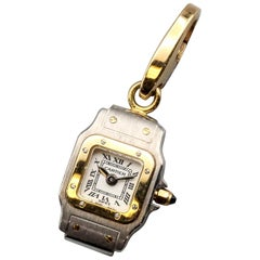 Cartier 18 Karat White and Yellow Gold Santos Watch Charm