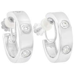Cartier 18 Karat White Gold 0.42 Carat Diamond Love Hoop Earrings