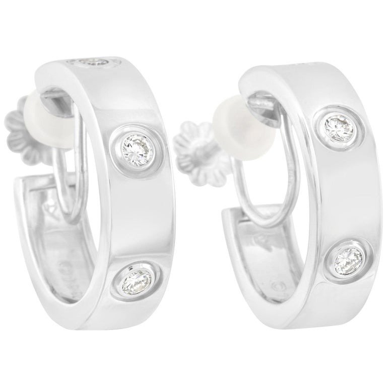 Cartier 18 Karat White Gold 0.42 Carat Diamond Love Hoop Earrings For Sale