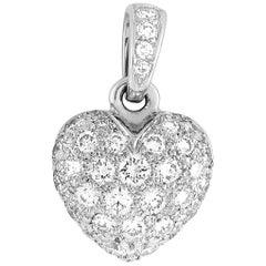 Cartier 18 Karat White Gold 0.50 Carat Full Diamond Pavé Heart Pendant