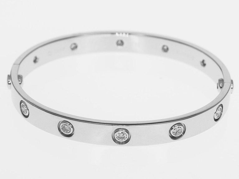 Brand:Cartier  Name:Full Diamonds Love Bracelet 16cm Material :10P diamonds, K18 750 WG White Gold Comes with:Cartier Box,Case, Repair certificate(June 2018), Screwdriver Wrist size(inch):16cm / 6.29