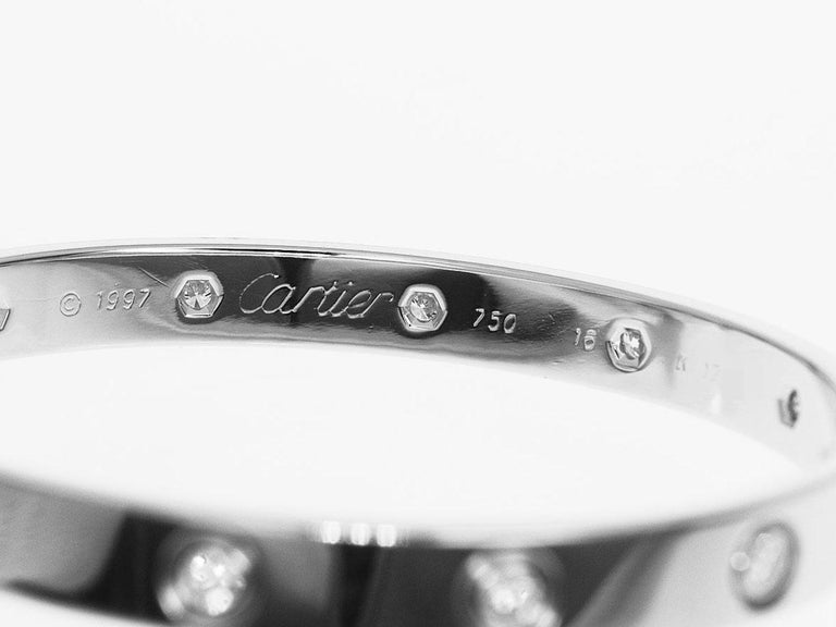 Cartier 18 Karat White Gold 10 Diamonds Love Bracelet For Sale 2