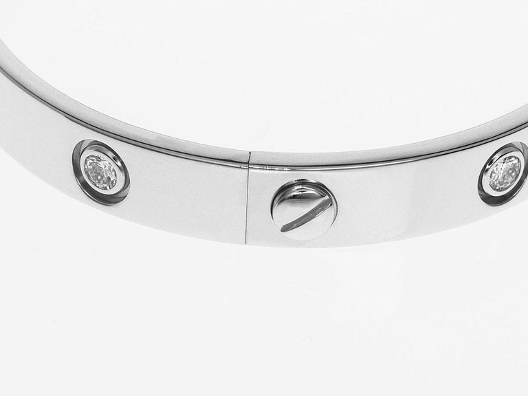 Cartier 18 Karat White Gold 10 Diamonds Love Bracelet For Sale 3