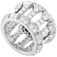 Cartier 18 Karat White Gold, 4.00 Carat Diamond Band Ring