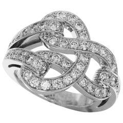 Cartier 18 Karat White Gold Agrafe Diamond Ring