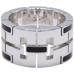 Cartier 18 Karat White Gold and Black Lacquar Ring Le Baiser Du Dragon COA